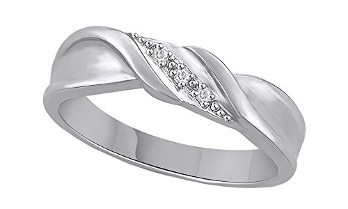 White Natural Diamond Accent Swirl Band Ring in 10K Solid White Gold (0.03 Ct)