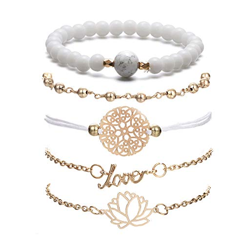 Unew Beaded Bracelets for Women - Adjustable Charm Pendent Stack Bracelets Set for Women Girl Friendship Gift Bracelet Links (Love Bracelet) -