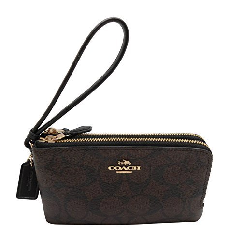 Coach-Signature-PVC-Double-Corner-Zip-Wristlet-Brown-Black-7039