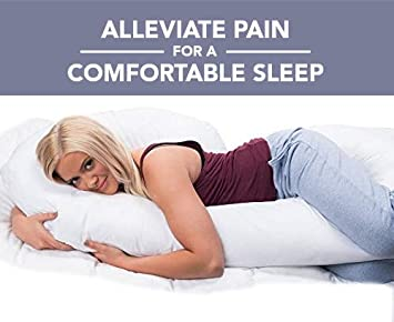 Hypoallergenic ComfySure Full Body Pregnancy Pillow Plush and Therapeutic 58 C Shaped Maternity Pillow or Back Support Cushion for Side Sleepers Pregnant or Nursing Women Comfortable