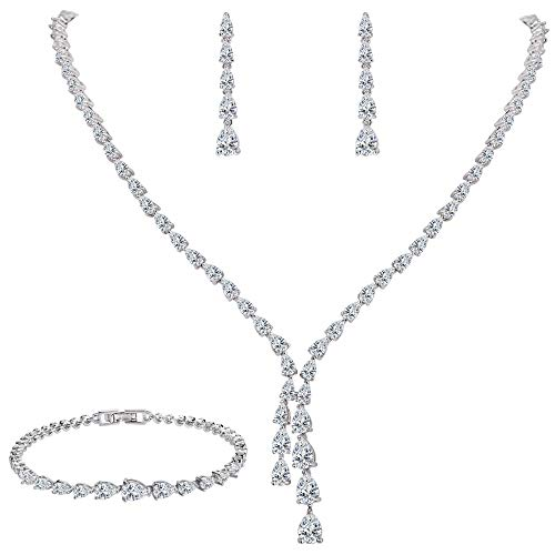 EleQueen Women's Silver-Tone Full Cubic Zirconia Teardrop Bridal Necklace Set Tennis Bracelet Dangle Earrings Clear