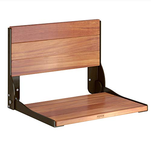 Moen DN7110OWB Home Care Wall Mounted Teak Wood Aluminum Folding Shower Seat, Old World Bronze