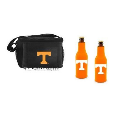 NCAA Tennessee - Picnic Cooler with Zippered Beer Bottle Insulators (2) | Tennessee Volunteers Beer Bottle Cooler (Neoprene Zippered Bottle Suit Cooler)