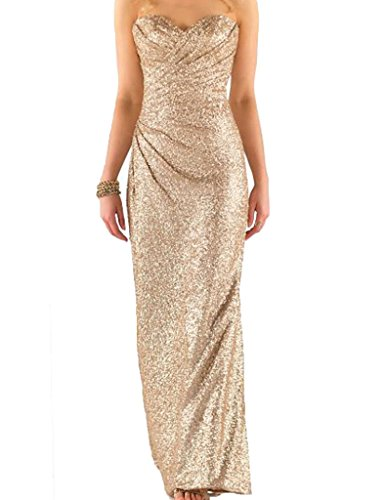 Cdress Women's Sequins Long Bridesmaid Dresses Sweetheart Wedding Eevning Prom Gown Champagne US 16W