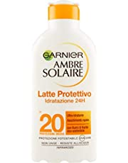 Garnier Ambre Solaire Crema Protezione Solare Idratante Latte Classico, Ultra-Idratante, Assorbimento Ottimo, IP20, 200 ml, Confezione da 1