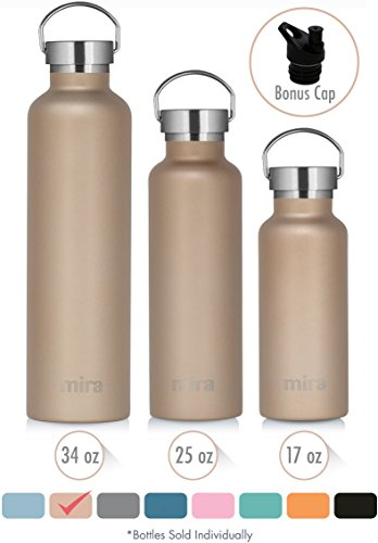 Thermal Vacuum Bottle - MIRA 17 Oz Stainless Steel Vacuum Insulated Water Bottle | Thermos Keeps Drink Cold for 24 hours & Hot for 12 hours, Doesn't Sweat | Large Powder Coated Sports Flask with 2 Lids | Champagne