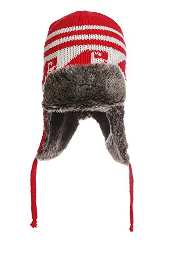 Aztec Trapper - American Cities Aztec Printed Trapper Beanie Hat Cap (One Size, Red)