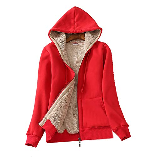 - Flygo Women's Casual Warm Thick Sherpa Lined Full Zip Hooded Sweatshirt Jacket Outerwear (X-Large, Red)