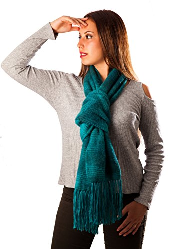 100% Baby Alpaca Scarf Authentic from Peru Stylish, Warm, AZO Free, Non-Toxic - Knit Wool Fringed Long Scarf