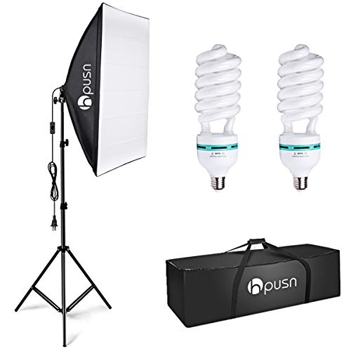 HPUSN Softbox Lighting Kit Photography Studio Light with 20-inch X 28-inch Reflector and 2pcs 85W 5500K E27 Bulb…