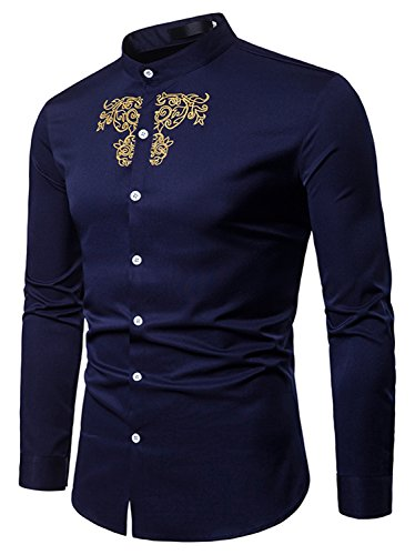 Design E Vari Ricamato Modelli Ba0072 Casual Con In Asimmetrico Uomo navy Camicia Colori Ed Whatlees Elegante TCqfEw