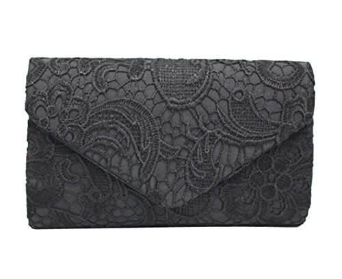Clutch Purse Handbag Evening Bag Lace Messenger Bag Wedding Party Bag (Black)