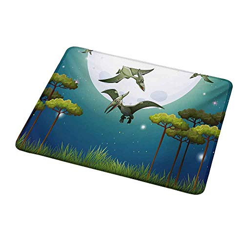 - Anti-Slip Gaming Mouse Mat/Pad Dinosaur,Cartoon Style Dinosaurs Flying on Full Moon Magical Night Enchanted Forest,Green White Blue,Gaming Non-Slip Rubber Large Mousepad 9.8