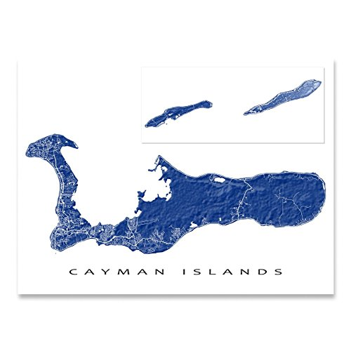 Cayman Islands Map Art Print, Grand Cayman, Little Cayman, Cayman (Cayman Islands Wedding)