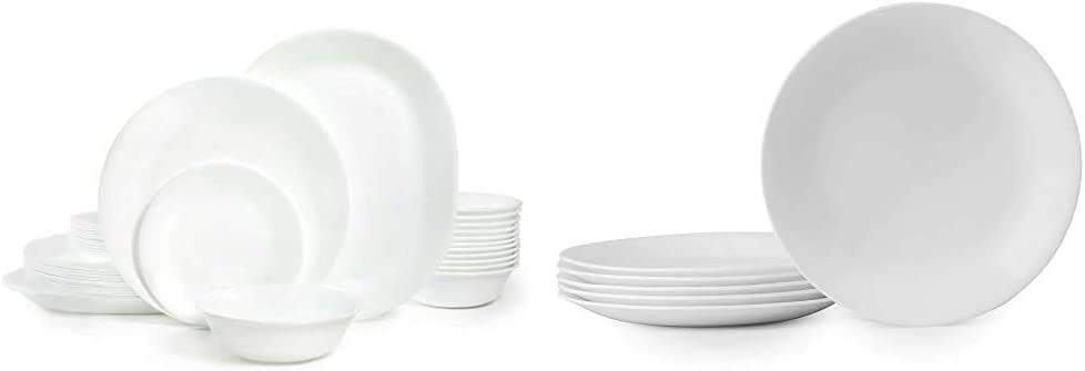 Corelle Winter Frost White Dinnerware Set (38-Piece, Service for 12) & Winter Frost White Lunch Plates Set (8-1/2-Inch, 6-Piece, White)