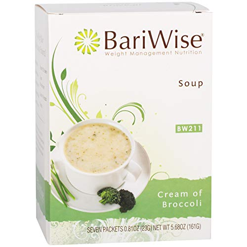 BariWise High Protein Low-Carb Diet Soup Mix - Low Calorie, Fat Free Cream of Broccoli (7 Count)