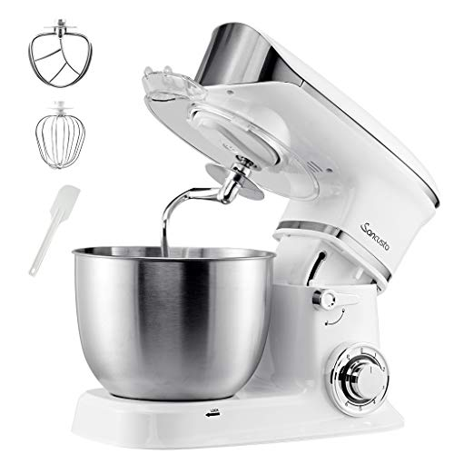 Sancusto Stand Mixer, Dough Mixer 600W 6 Speeds 5 Quarts Dough Maker Dough Blender, Kitchen Electric Mixer, Splash Guard (Dough Hook and Flat Beater, Wire Whisk), White