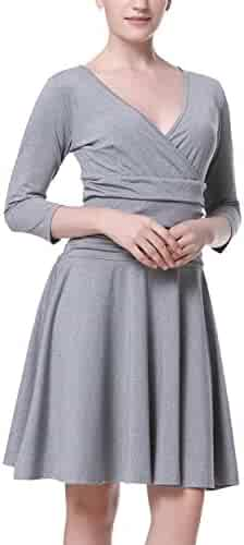 c8a94dff6cc Mixfeer Women s Slimming 3 4 Sleeve Cross V Neck Empire Ruched Waist Fit  and Flare