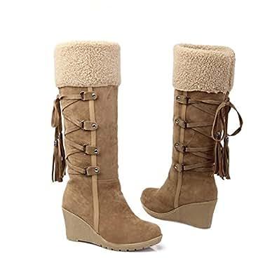 Amazon.com | Karenemp Shoes Women's Back Lace Up Snow