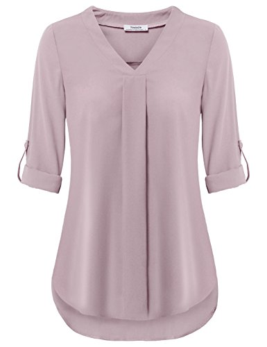 Youtalia Long Sleeve Blouse for Women Office, Ladies Comfy Loose Fit V Neck Roll-Up Sleeve Tops Curved Hem Soft Lightweight Chiffon Tunic (X-Large, Dark Pink)