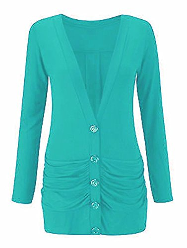 Longsleeve Ladies 26 Womens Size Cardigan Boyfriend Button up Turquoise 8 Pocket BqgZrxq5wU