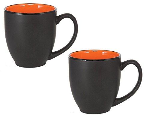 Bistro Ceramic Large Coffee & Tea Mug Matte Black w/ Orange Interior, 12 ounce (Pack of - Orange Finish Matte