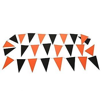 Hacoly Halloween Wimpel Stoffgirlande Girlande Orange Schwarz
