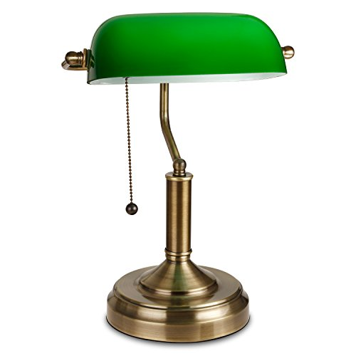 TORCHSTAR Traditional Banker's Lamp, Antique Style Emerald Green Glass Desk Light Fixture, Satin Brass Finish, Metal Beaded Pull Cord Switch Attached