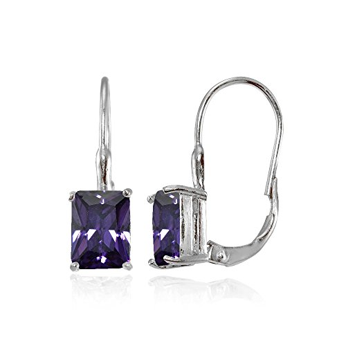 Leverback Purple Earrings (Sterling Silver Purple Cubic Zirconia Emerald-Cut Leverback Earrings)