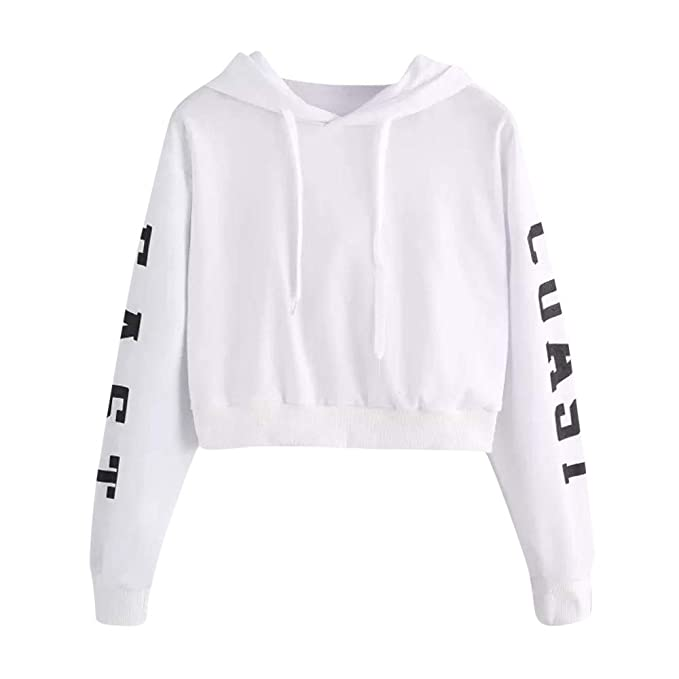 WEUIE Clearance Womens Clothing Womens Letters Long Sleeve Hoodie Sweatshirt Pullover Tops Blouse at Amazon Womens Clothing store: