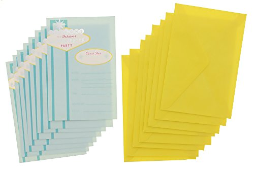 Vegas Invite - Paper Craft Bachelorette Party Invitation Invites - Teal - 2 Pack - 16 Count