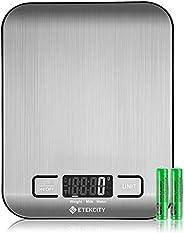 Etekcity Báscula de cocina digital multifunción alimentos escala, 11lb 5kg, Plata, Acero inoxidable (pilas i
