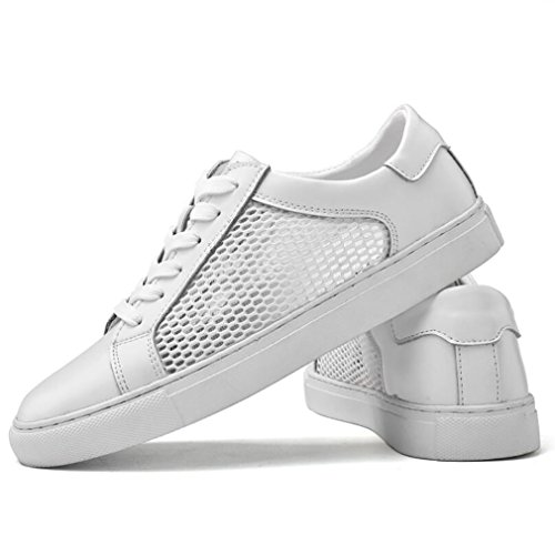 Sport Homme De À Lacets Confort Blanc Course chaussures chaussures Automne printemps Cuir En Sneakers noir Chaussures 38 white rgrFvS