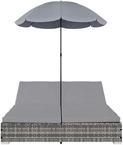 Tidyard Tumbona Cama con sombrilla ratán sintético Gris Resistente a la Intemperie 197 x 140 x 190 cm: Amazon.es: Hogar