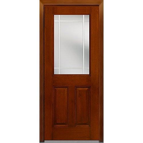 National Door Company Z007000L Fiberglass Mahogany, Warm Chestnut, Left Hand In-swing, Exterior Prehung Door, Internal Grilles 1/2 Lite 2-Panel, 36''x80'' by National Door Company