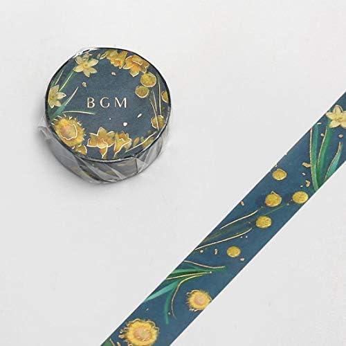 BGM Washi Masking Tape (15mm) Foil Stamping – Garden Viridian – for Scrapbooking Art Craft DIY