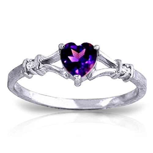 Galaxy Gold 0.47 Carat 14k Solid White Gold Ring with Natural Diamonds and Heart-shaped Amethyst - Size 8