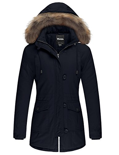Wantdo Women's Cotton Thicken Padded Parka Winter Jacket Fur Hood Coat(Navy, S) (Stools Canada)