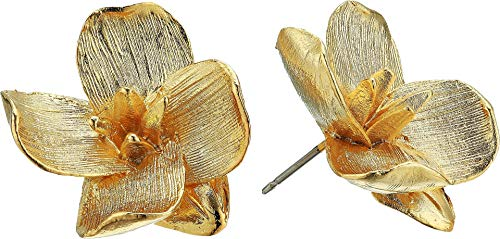 Kenneth Jay Lane Women's Gold Flower Pierced Earrings Gold One Size