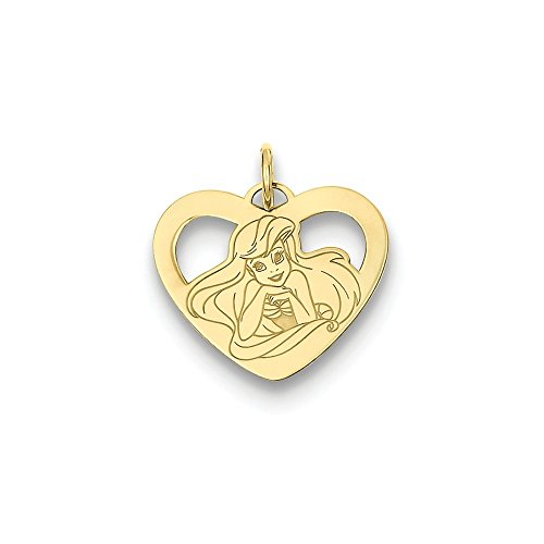(Roy Rose Jewelry 14k Disney Ariel Heart Charm Necklace Complete with Chain)