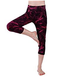 HDE Womens Capri Yoga Pants Fitted Stretch Leggings for Workouts Running
