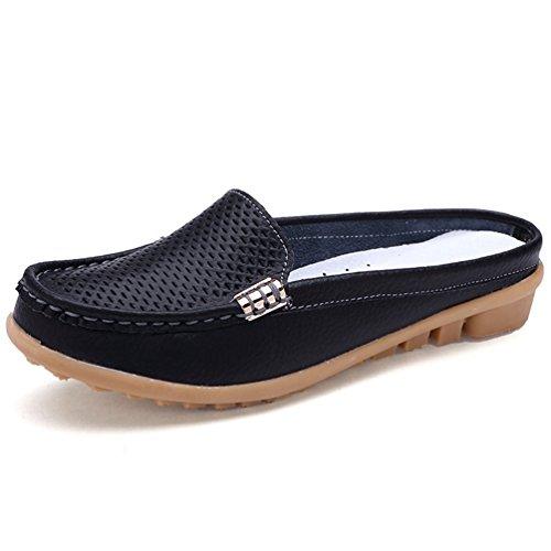 Zapatos De Mujer Ocio Madre Suave Mocasines Cuero Calzado De Negro La MocasíN Reales De 0q5ZwEC