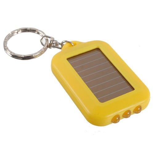Yellow 3 LED Solar Panel Energy Flashlight Torch Lamp Keychain