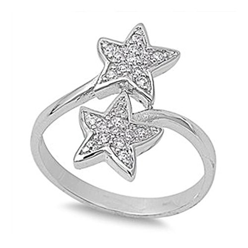Sterling Silver Double Star (Sterling Silver Double Star Ring with Clear CZ - size8)