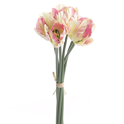 Tulip Parrot Stem (Group of 3 Cream and Pink Artificial Parrot Tulip Floral Bundles- 18 Total Stems)