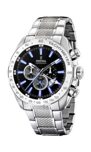 Festina Men's F16488/3 Silver Stainless-Steel Quartz Watch with Black Dial - Festina Gents Watch