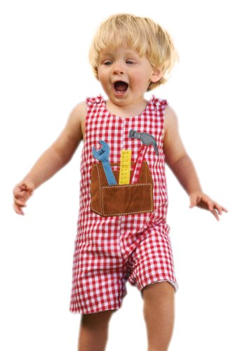 Price comparison product image Mud Pie All Boy Tool Box Shortall,  Red / White,  0 6 Months