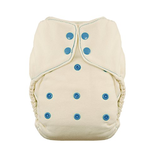 Fitted Diaper Cloth (Thirsties Snap Natural One Size Bamboo Fitted Cloth Diaper, Ocean Blue)