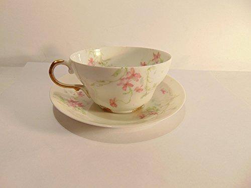 Limoges Porcelain Vintage Theodore Haviland Fine Tea Cup & Saucer Set Pink Floral Design with Gold Trim (Limoges Saucer)