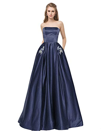 - Libaosha Satin Strapless Formal Gowns With Beaded Pockets Lace Up Back Prom Dresses Long (US2, Dark Navy)